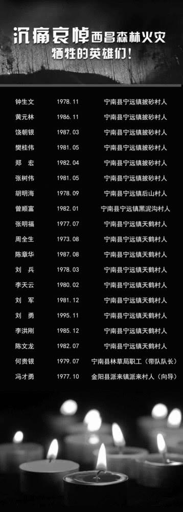 西昌森林火灾牺牲人员名单公布!最小24岁,扑火2小时遇风突变